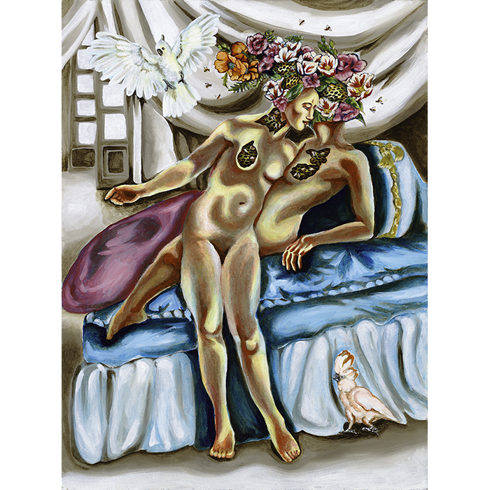 A Pop Surrealist Oil on canvas painting of two women on a bed with a cockatiel below them