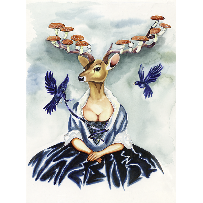 Released is a Pop Surrealist watercolor of a Deer Headed Woman