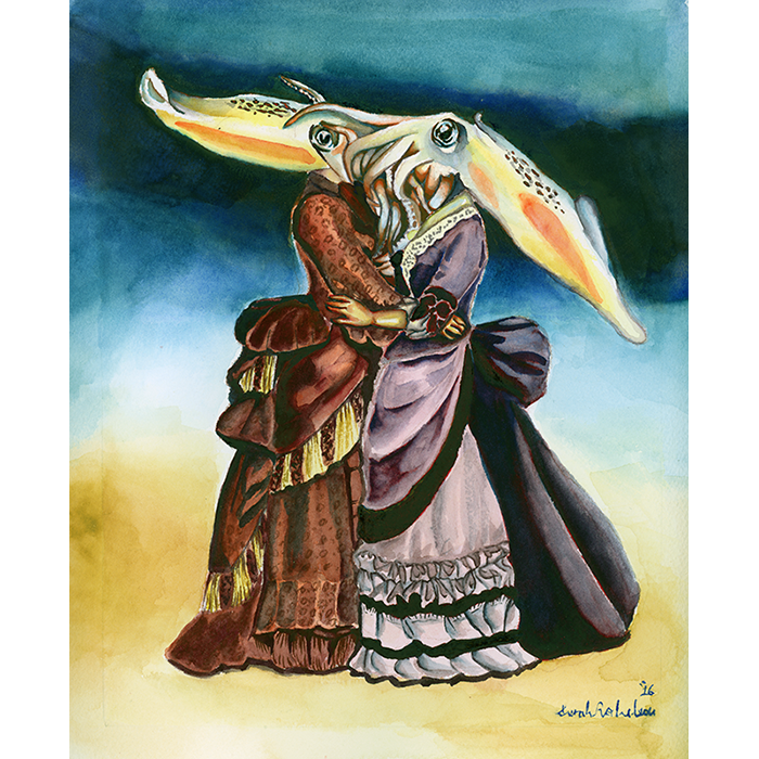 A Pop Surrealist watercolor of two squid headed women embracing by Sarah Rocheleau