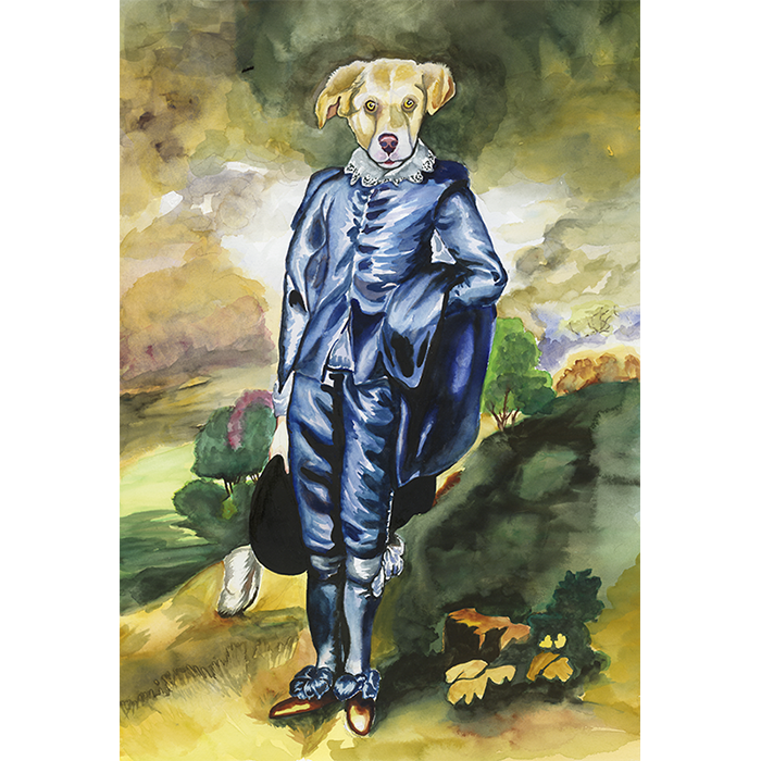 Pop Surrealist watercolor painting of the Dog Colin as the blue boy