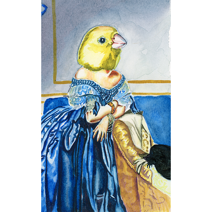 A Pop Surrealist watercolor of a bird headed woman