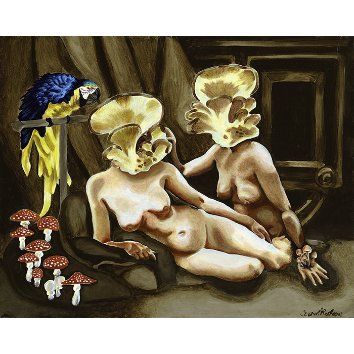 A Pop Surrealist oil on canvas painting of 2 Mushrrom headed women  and their bird