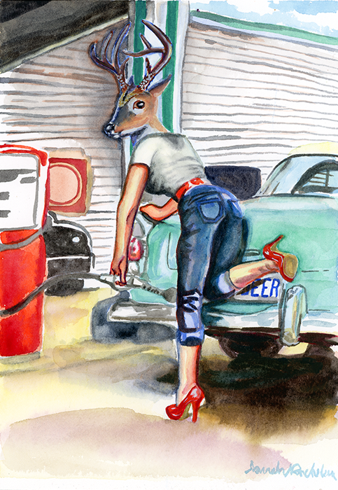 Pop Surrealist watercolor of a deer headed woman filling her car with gas. An homage to the pinup art of the 50's and 60's