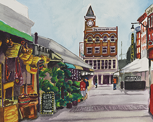 Fine Art Watercolor Painting of Findlay Market