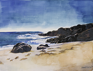 Fine Art Watercolor painting of the Ocean in Malibu California