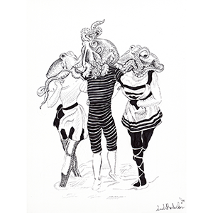 Anthropomorphic illustration of 3 Cephalopoda women wearing Victorian Bathing Suits by the Seaside