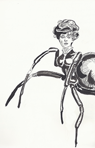 Anthropomorphic Illustration of a human headed woman on a Spider's body