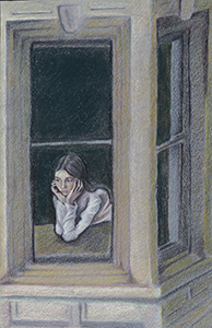 Black and white Illustration of a young woman looking out the window