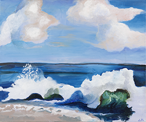 Fine Art Acrylic painting of the Ocean in Malibu California