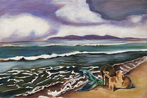 Fine Art Painting of the Malibu California coastline with a mermaid in the picture