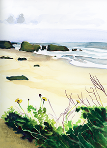Fine Art Watercolor of the beach at the Leo Carrillo State Park in Malibu California