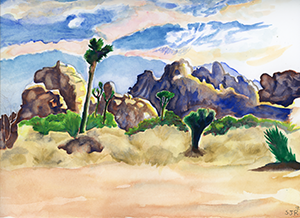 Watercolor Fine Art Painting of of a Joshia Tree at Joshua Tree National Park