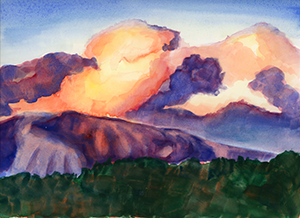 Watercolor Fine Art Painting of clouds over the San Gabriel Mountains