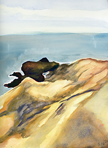 Watercolor Fine Art Painting of Pismo Beacch from Central California