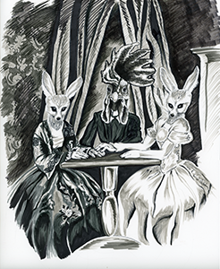 Black and white illustration pf 2 foxes having a seance with a chicken