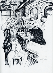 Anthropomorphic illustration of an octopus headed bartender and a goat headed patron of the bar