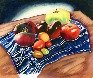 Fine Art Painting of Heirloom Tomatoes