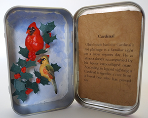 Altoid Box Sculpture of a Cardinal